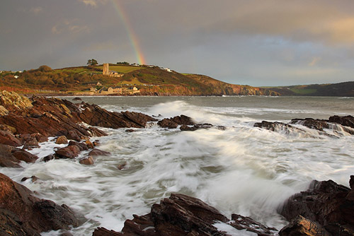 An intense storm at Wembury with a rainbow, Southwest of England
