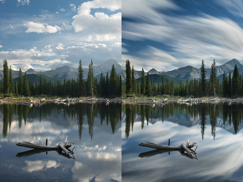 before and after comparison of an ND filter effect on a landscape - photos by Darwin Wiggett