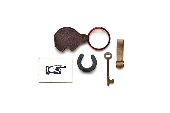 Adventure, This Way Vintage Horseshoe, Magnifying Glass, Antique Skeleton Key