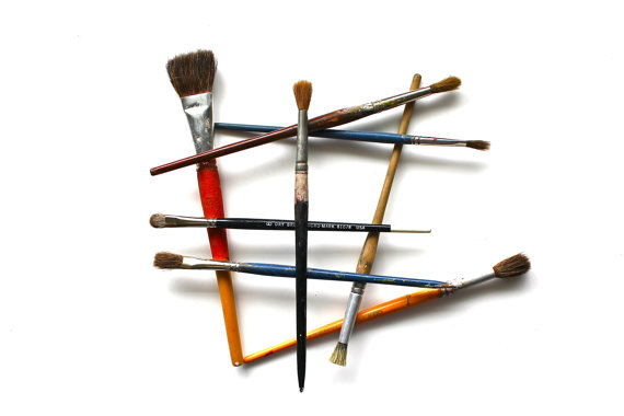 Quit Lying Around vintage paintbrushes