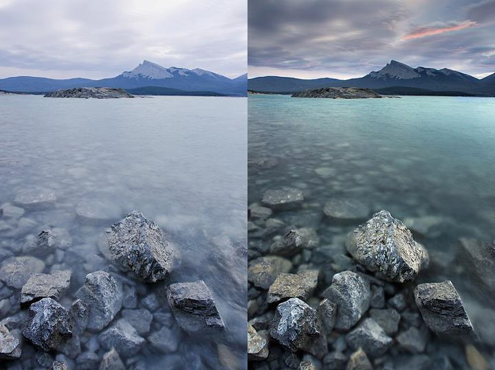 A before and after example showing the difference a warming polarizer and 3-stop grad filter can make on a landscape.