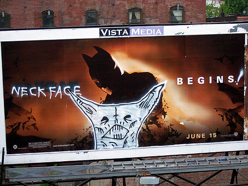 neckface begins batman billboard