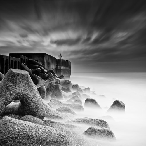 Long exposure of coastal Leonards, England by Spencer Brown