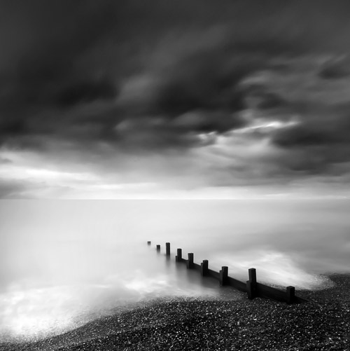 Long exposure black and white of coastal Bournemouth, England by Spencer Brown