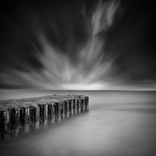 Small jetty down on the sandbacks at Poole, England by Spencer Brown