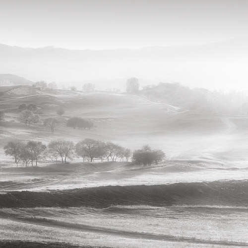 Sunrise over a foggy and misty landscape, fine art black and white photography.