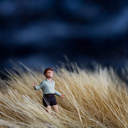 Windswept golden plains with blue sky and miniature figure