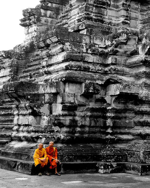 Sitting Buddhist Monks