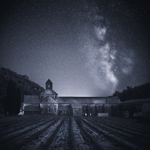 Abbaye de Sénanque under the night sky in Provence, France