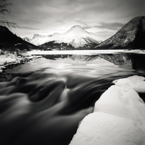 The snow-covered East River of Midgard in Norway.