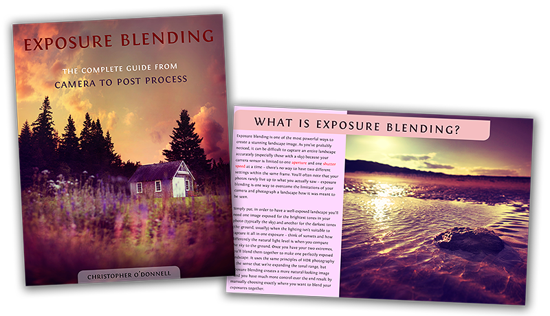 The cover to Exposure Blending, an eBook guide to auto-bracketing and blending exposures in Photoshop.