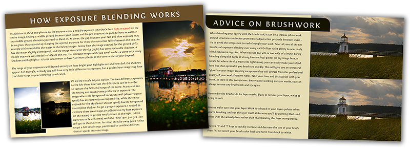 Page previews to Exposure Blending, an additional eBook included with The Golden Hours purchase