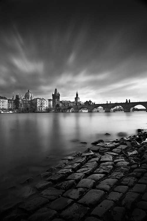 Black and white photograph of the Charles Bridge of Prague
