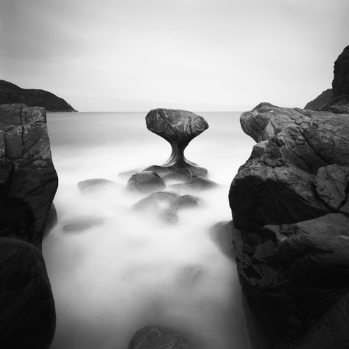 Uniqu rock shapes by the water in Norway