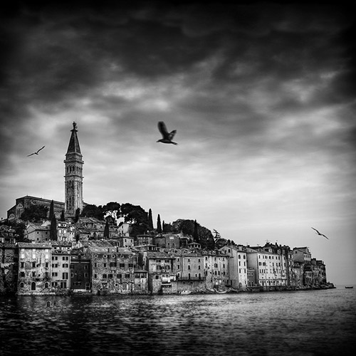 Seaside view of Rovinj in Croatia