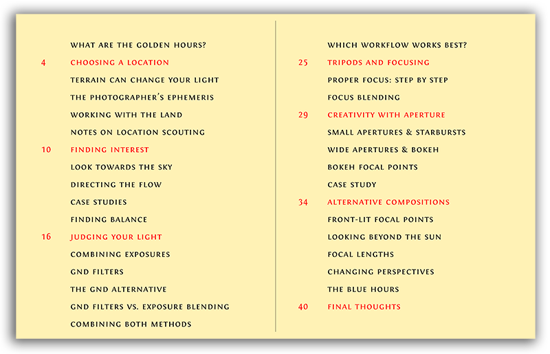 Table of contents preview for The Golden Hours eBook