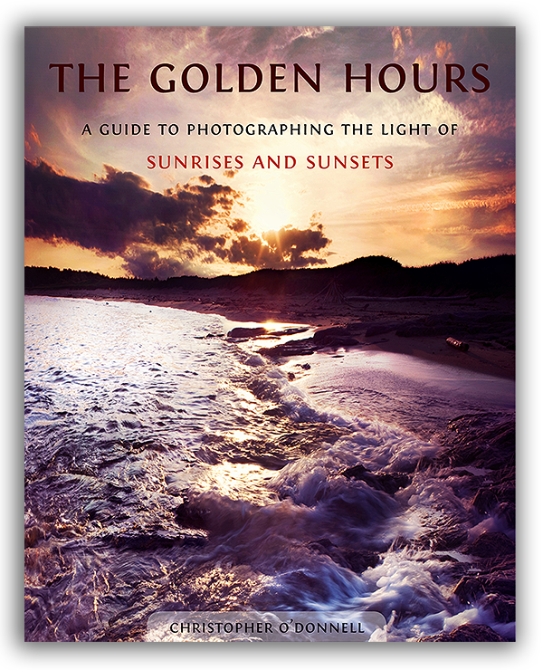 Cover to The Golden Hours eBook, a photography guide to sunrises and sunsets with additional eBook on exposure blending.