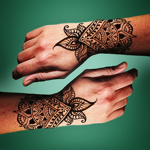 Henna tattoo wrists