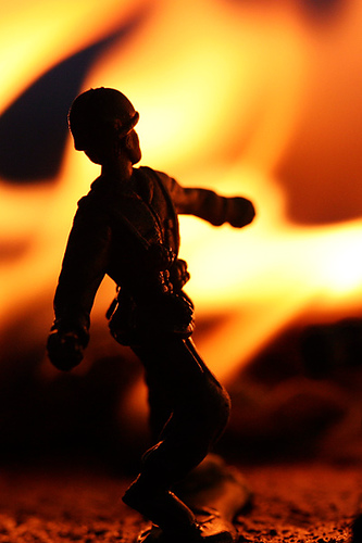 Incendiary toy soldier