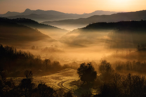 Underneath the Veil by Maria Kaimaki, hills and trees during the golden hours