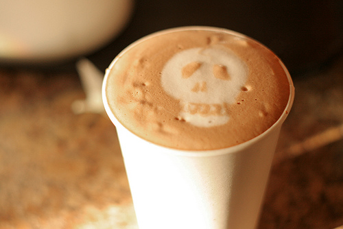 hot chocolate skull latte art