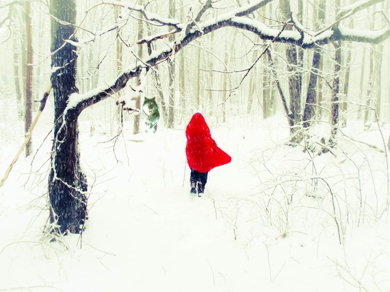 Red Riding Hood Lost in the Woods with the Wolf