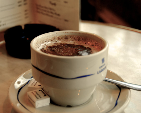 cup of hot chocolate in a French cafe, Paris, France