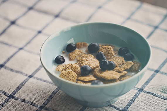 cereals an blueberries bowl