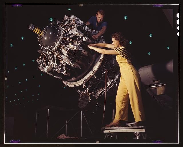 Women are trained to do precise and vital engine installation detail in Douglas Aircraft Company plants, Long Beach, Calif.