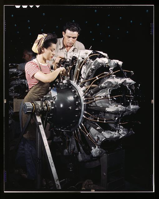 Women are trained as engine mechanics in thorough Douglas training methods, Douglas Aircraft Company, Long Beach, Calif.
