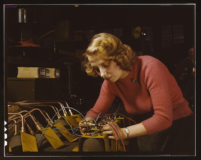 Lucile Mazurek, age 29, ex-housewife, husband going into the service. Working on black-out lamps to be used on the gasoline trailers in the Air Force, Heil and Co., Milwaukee, Wisconsin