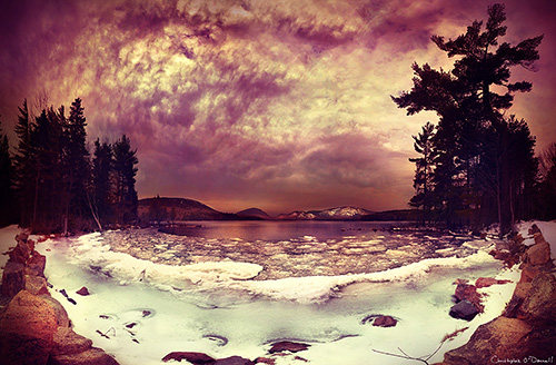 Exposure blending your winter scene can allow you to capture the full tonal range, as seen with this snow image of Eagle Lake in Acadia National Park.