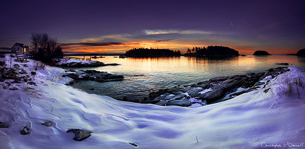 Adjusting your exposure for snow, as seen in this winter sunrise along the coast of Maine.