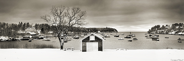 Black and white snowscapes are a popular subject as the snow enhances the tonal range - seen here of this small fishing village along the coast of Maine.