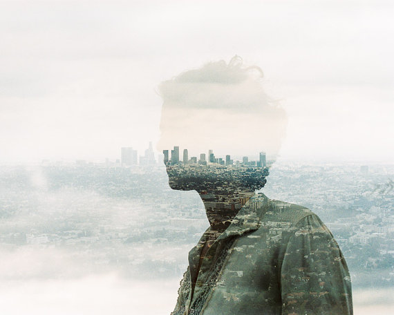 City of Angels double exposure portrait