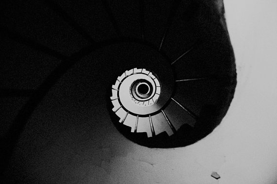 black and white spiral staircase