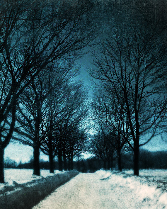 Journey into Blue snowy winter road