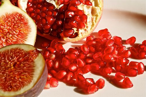 Red fruits pomegranates