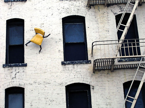 Defenestration fire escape chair