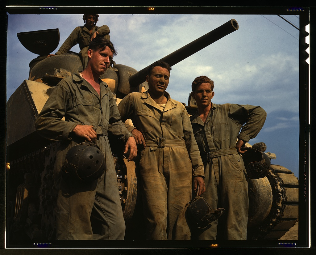 Tank crew standing in front of an M-4 tank, Ft. Knox, Ky.