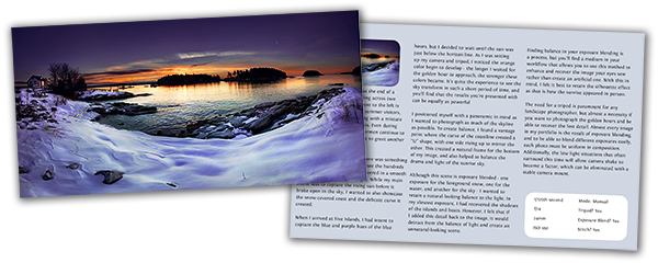 Page preview for The Golden Hour Portfolio, an eBook for landscape photographers on sunrises and sunsets.