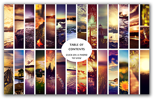 Table of contents for The Golden Hour Portfolio eBook for photographers.