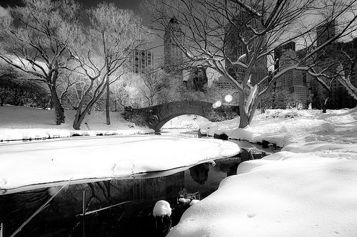 stone bridge in snow