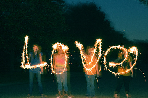 sparklers long exposure love