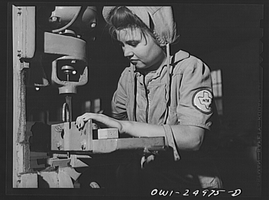 San Augustine, Texas. Girl making chairs in the woodworking shop under the NYA (National Youth Administration) war training program
