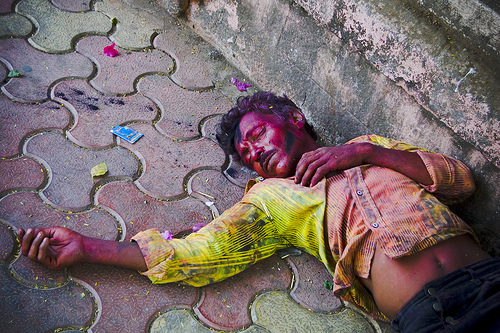 Holi drunk festival of colors