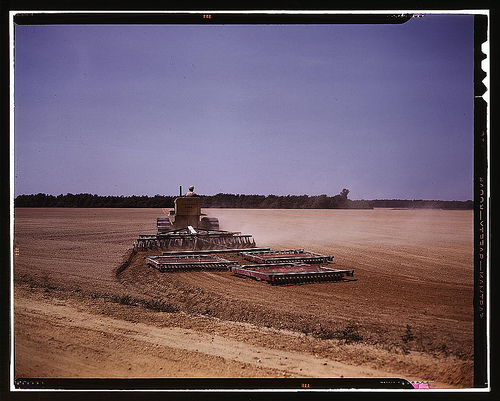Harrowing a field with a diesel tractor, Seabrook Farm, Bridgeton, N.J.