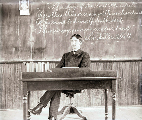 Victorian Teacher at His Desk