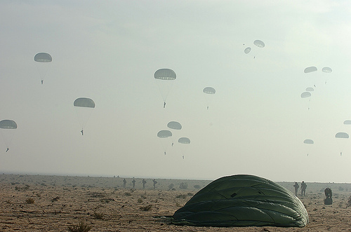 Landing over Egypt parachutes