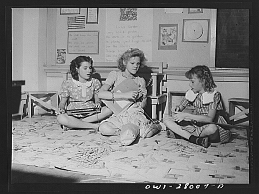 Orange, Texas. Extended school day program in the public schools. These children are weaving after the regular school day is over, while waiting for their parents to finish work and call for them